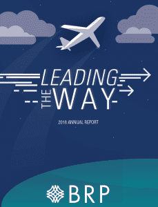 "2018 annual report cover, ""Leading the Way"" and icon of an airplane flies upwards toward the clouds"