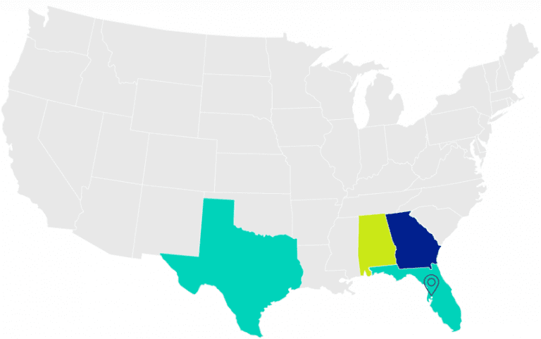 Map of the United States. States with BRP locations are highlighted. States include Florida, Georgia, Alabama and Texas