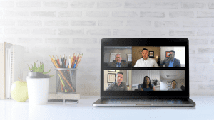 Multiple professionals having a virtual conversation